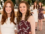 Smiles all-around: Julianne Moore and Chloe Grace Moretz posed for snaps to promote their new film in Cancun, Mexico, on Thursday