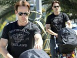 Flowers for Anna? Stephen Moyer takes his baby son on a stroll and picks up a romantic gift