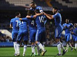 Into the final: Chelsea celebrate getting to the final of the FA Youth Cup for the second year in a row