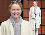 Model/actress Lily Cole meets a friend at the Bowery Hotel in the East Village of New York City