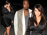 Pregnant Kim Kardashian tickles her tastebuds as she steps out for dinner in plunging satin dress with Kanye (and bump)