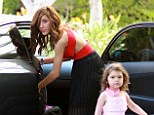 Dressed to thrill! Farrah Abraham wears plunging red top and skirt... after taking her daughter to sex tape negotiations