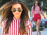 Star in stripes: Naya Rivera sported an eye-catching outfit for her day at the salon in West Hollywood, on Sunday