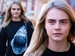 Cara Delevingne out in NYC with no make-up and wearing a shark jumper