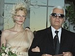 Wedding day: The 46-year-old, who was given away by Karl Lagerfeld at her October 1997 wedding, filed a petition in which Mr Aldridge admitted to adultery