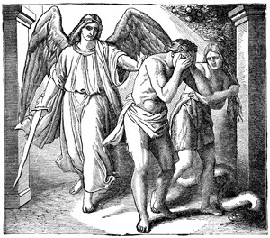 Angel Flaming Sword Deporting Adam And Eve