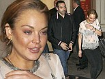 That's one way to get his attention: Lindsay Lohan revealed her black lacy bra underneath a cream sheer top as she went on a date with wealthy Saudi producer Mohammed Al Turki on Tuesday evening in New York