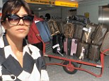 Kourtney Kardashian and Kris Jenner touch down in London... with a MOUNTAIN of designer luggage