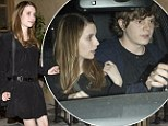 Date night chic: Emma Roberts looks stylish in her all-black ensemble for dinner with her beau Evan Peters at RivaBella restaurant in West Hollywood, California on Tuesday night
