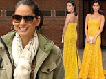 Style chameleon! Olivia Munn is casual in jeans and military jacket...before transforming into the belle of the ball in canary yellow lace dress