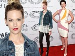 Didn't you get the memo? January Jones is casual in denim and leather as Jessica Paré sticks to Sixties glamour at Mad Men bash