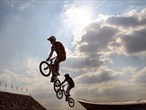 Maris Strombergs of Latvia competes in the Men's BMX Cycling Final
