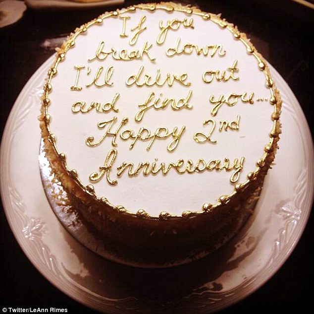 Saccharine declaration: The 30-year-old tweeted a snap of her anniversary cake, on Tuesday