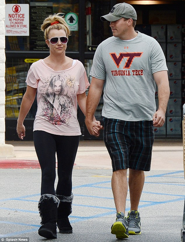 New love: Britney, pictured earlier this month, is currently dating lawyer David Lucado, who she met after splitting from her fiance Jason Trawick in January