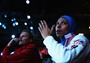 Eman Gaber of Egypt watches the women's Foil Team Fencing