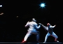 Mohamed Samandi of Tunisia competes against Husayn Rosowsky of Great Britain in the Fencing