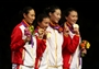 China celebrates after the Women's Epee Team Fencing Finals
