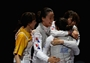 Republic of Korea celebrate bronze in the women's Foil Team Fencing
