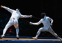 Paolo Pizzo of Italy competes against Ka Ming Leung of Hong Kong, China