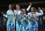 Italy celebrates winning gold in women's Foil Team Fencing