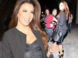 That's how you do it! Eva Longoria shows off her curves in bodycon dress at Italian restaurant Via Veneto on Thursday night