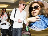 It takes two! Nick Lachey and wife Vanessa Minnillo juggle baby Camden and luggage to board flight on time at LAX