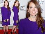 What is her secret? A luminous Julianne Moore, 52, defies her age in electric purple frock at Tribeca Film Festival