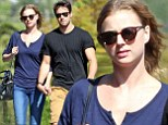 Emily VanCamp and Josh Bowman out for a walk