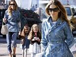 Only she could pull it off! Sarah Jessica Parker takes a fashion risk in double denim as she ferries her children to school