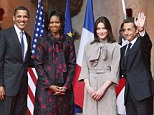 President Barack Obama and first lady Michelle Obama with Nicolas Sarkozy and wife Carla Bruni