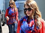 Casual Friday! Jessica Alba heads to work at The Honest Company wearing loose layers in primary colors