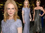All that glitters: Nicole Kidman and Julie Bowen dazzle in lavender and chrome sparkles at Vanity Fair cocktail reception