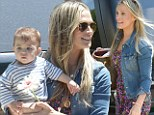 Come here boy! Molly Sims could not contain her excitement as she walked up to her adorable son Brooks at a Mother's Day party in Beverly Hills, on Saturday