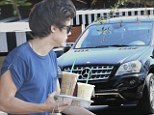 Up All Night? Harry Styles spotted 'emerging from Rod Stewart's home to grab coffee with the rocker's daughter Kimberly'