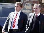 Paying respects: Brendan Rodgers and Liverpool managing director Ian Ayre (right) were at the funeral of Anne Williams