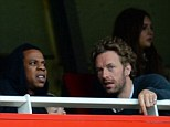 Gooners: Jay-Z (left) and Chris Martin watch Arsenal's draw with Manchester United