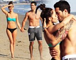 Jesse Metcalfe and his fiancee and fellow actress Cara Santana flaunt their amazing bodies while soaking up the sun at the beach in Santa Monica, California