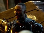 Rallying the troops: Idris Elba stars as Stacker Pentecost and is seen giving an inspiring speech to humans faced with the threat of extinction from an alien attack