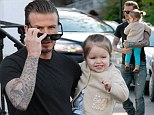 David Beckham and Harper Seven