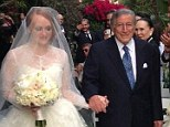 Proud father: Tony Bennett positively beamed with pride as he walked his daughter Antonia down the aisle at her wedding on Sunday