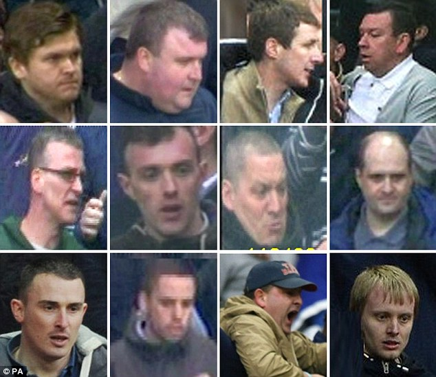 Wanted: These are 10 of the 17 more football fans suspected of being involved in disorder at the FA Cup semi-final, and police want them identified