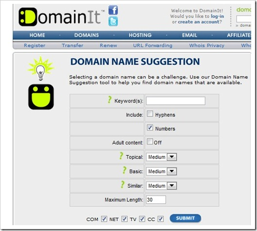 DomainIt 6 Domain Name Suggestion Tools