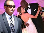 A-list buddy: Golf champion Tiger Woods attended Michael Jordan and Yvette Prieto's wedding at the Bear's Club in Jupiter, Florida Saturday