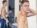 Undressed for success! Derek Hough shows off his toned dancer's torso as he goes shirtless at the hairdresser's