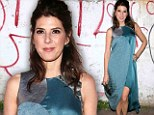 What was she thinking? Marisa Tomei drowns her figure in bizarre sack of a dress at art fundraising gala