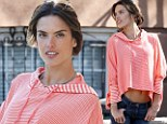 So flat! Alessandra Ambrosio revealed her toned tummy in a midriff-baring striped pullover on set of a Victoria's Secret shoot in New York City on Tuesday