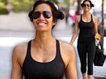 Padma Lakshmi leaves a boxing class in her workout gear