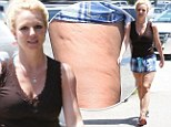 The dimpled truth: Britney Spears displays her cellulite in a pair of unflattering shorts