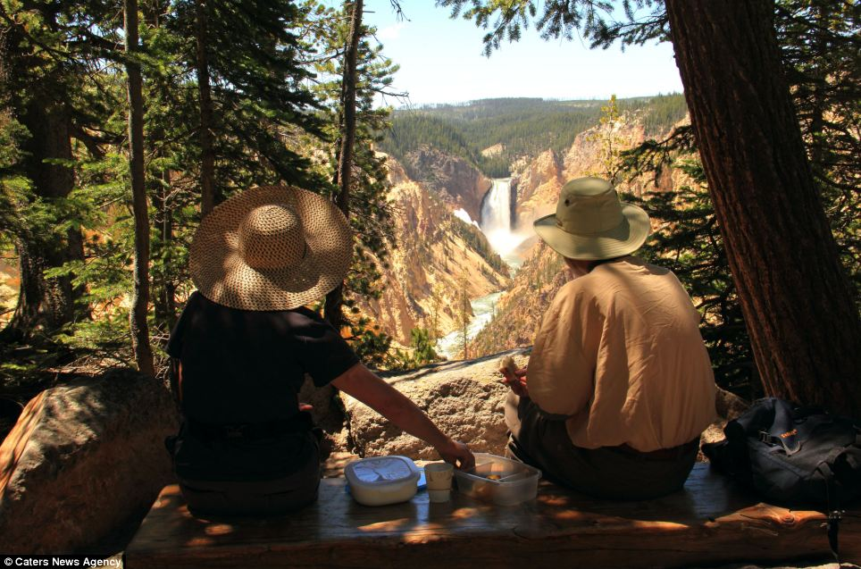Work of art: Walkers stop to paint at Artist Point in Yellowstone National Park