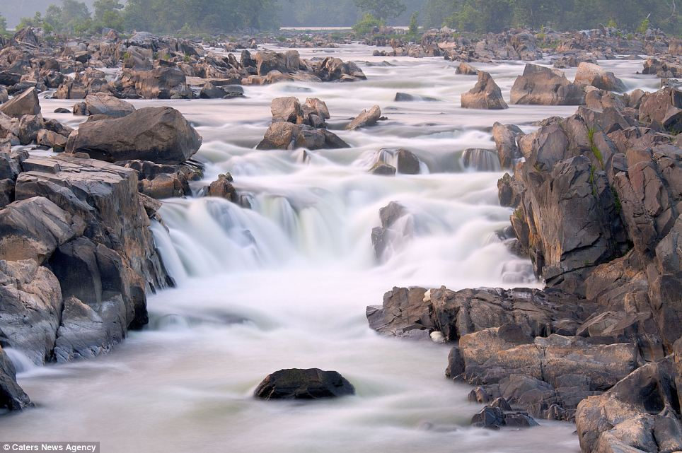 Rapids: The fast-moving waterfalls in the Potomac River at Great Falls Park in Virginia also features in the stunning series